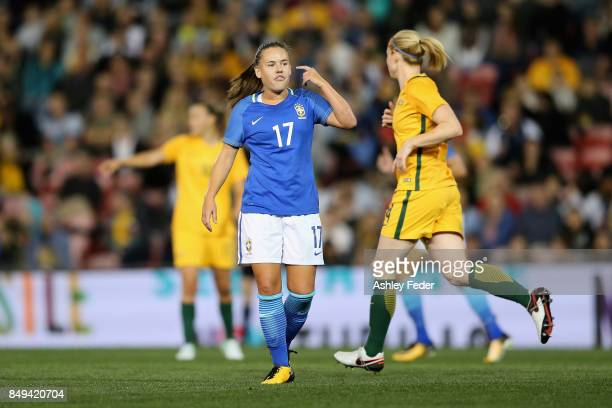 Andressa Cavalari Machry of Brazil questions a decision during the Women's International match between the Australian Matildas and Brazil at McDonald...