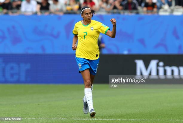 Andressa of Brazil celebrates her sides first goal during the 2019 FIFA Women's World Cup France group C match between Brazil and Jamaica at Stade...