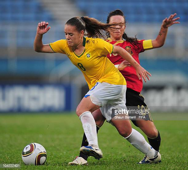 Andressa of Brazil is challenged by Amanda Sampedro of Spain during the FIFA U17 Women's World Cup Quarter Final match between Spain and Brazil at...