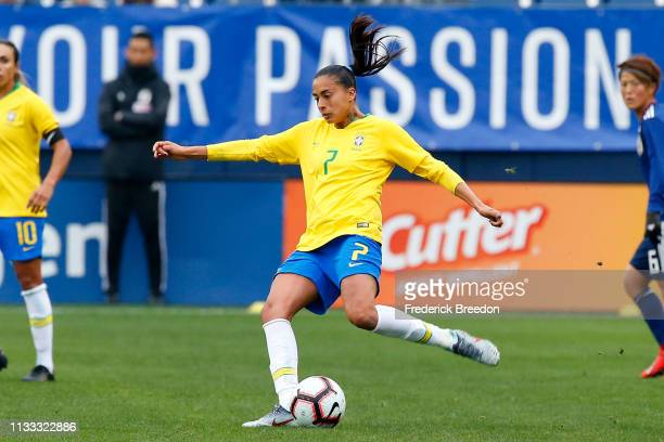 Andressa of Brazil plays during the 2019 SheBelieves Cup match between Brazil and Japan at Nissan Stadium on March 2 2019 in Nashville Tennessee