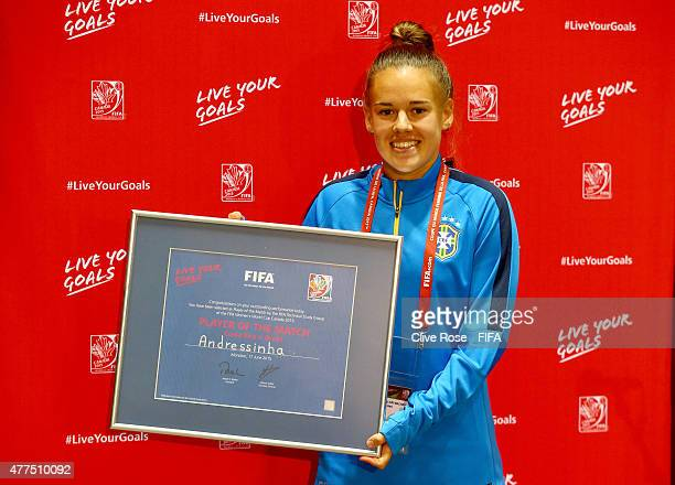 Andressa of Brazil poses with the 'Player of the Match' award after the FIFA Women's World Cup 2015 Group E match between Costa Rica and Brazil at...