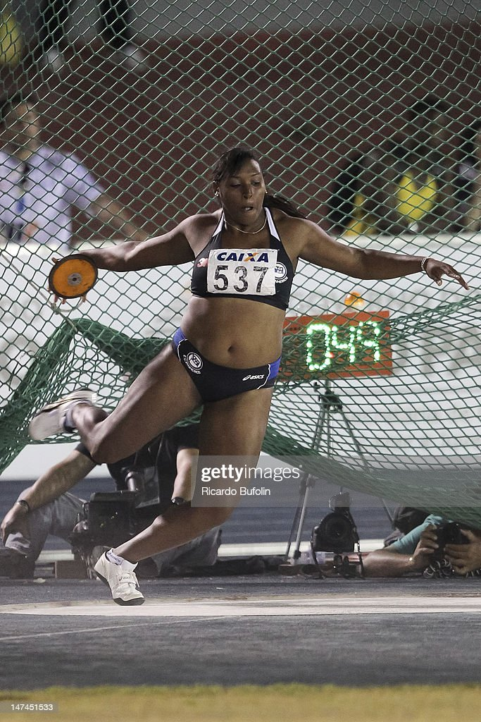 Andressa Oliveira de Morais (Winner), from Brazil, competes in the Discus Throw Final event during the third day of the Trofeu Brazil/Caixa 2012 Track and Field Championship at êcaro de Castro Mello Stadium on June 29, 2012 in Ibirapuera, Sao Paulo, Brazil.