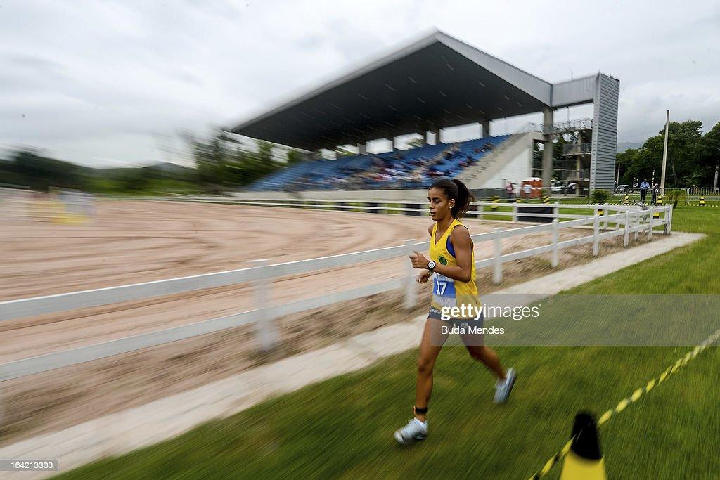 Andressa Ramos of Brazil competes in the Women's Pentathlon during the Modern Pentathlon World Cup Series 2013 at Complexo Deodoro on March 20, 2013 in Rio de Janeiro, Brazil.