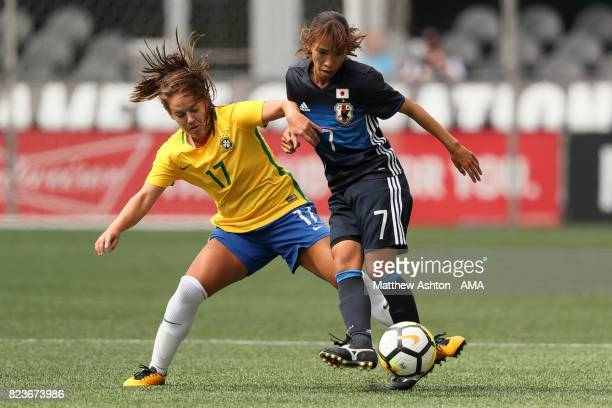 Andressinha of Brazil and Emi Nakajima of Japan during the 2017 Tournament Of Nations match between Japan and Brazil at CenturyLink Field on July 27...