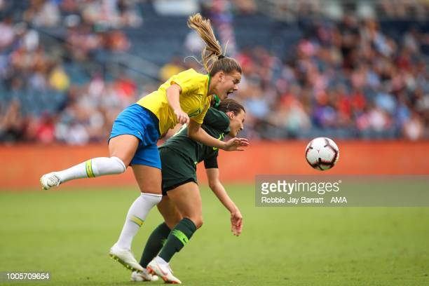 Andressinha of Brazil and Hayley Raso of Australia during the 2018 Tournament Of Nations women match between Australia and Brazil at Children's Mercy...