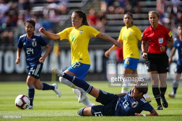 Andressinha of Brazil and Yuika Sugasawa of Japan during the Tournament of Nations match between Japan and Brazil at Pratt Whitney Stadium on July 29...