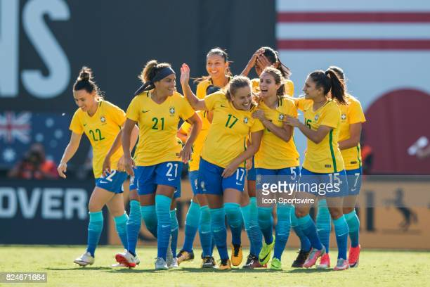 Andressinha of Brazil clebrates scoring a goal during the Tournament of Nations soccer match between USA and Brazil on July 30 2017 at Qualcomm...