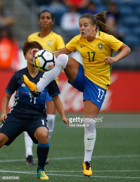 Andressinha of Brazil controls the ball against Japan during the 2017 Tournament of Nations at CenturyLink Field on July 27 2017 in Seattle Washington