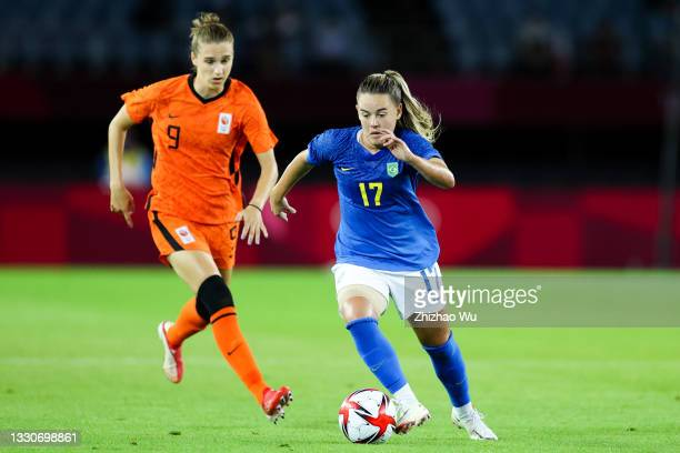 Andressinha of Brazil controls the ball during the Women's First Round Group F match on day one of the Tokyo 2020 Olympic Games at Miyagi Stadium on...