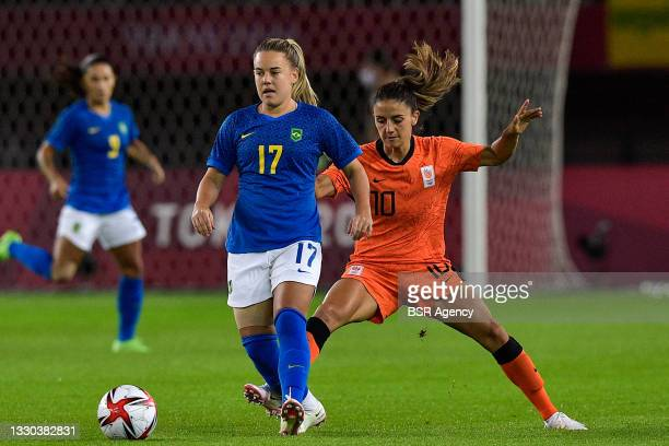 Andressinha of Brazil, Danielle van de Donk of the Netherlands during the Tokyo 2020 Olympic Football Tournament match between Netherlands and Brazil...