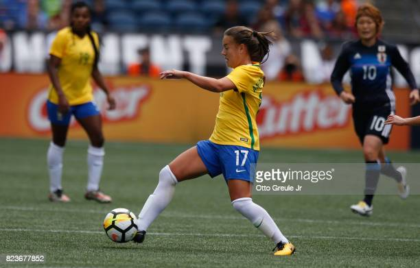 Andressinha of Brazil dribbles against Japan during the 2017 Tournament of Nations at CenturyLink Field on July 27 2017 in Seattle Washington