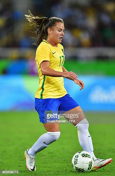 Andressinha of Brazil in action during the Olympic Women's Football match between Brazil and China PR during at Olympic Stadium on August 3 2016 in...