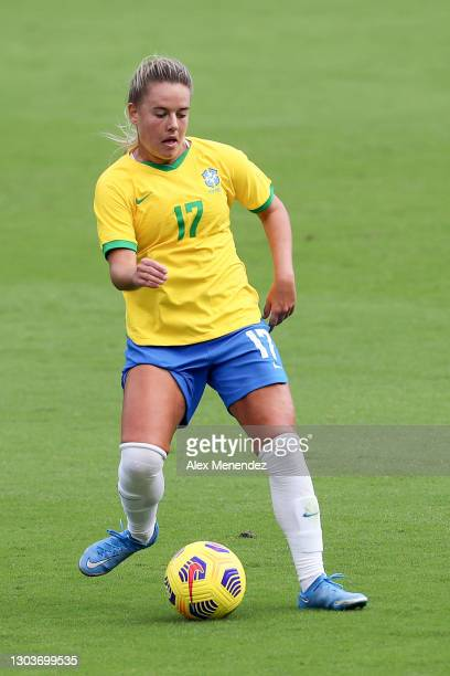Andressinha of Brazil plays against the United States during the SheBelieves Cup at Exploria Stadium on February 21, 2021 in Orlando, Florida.