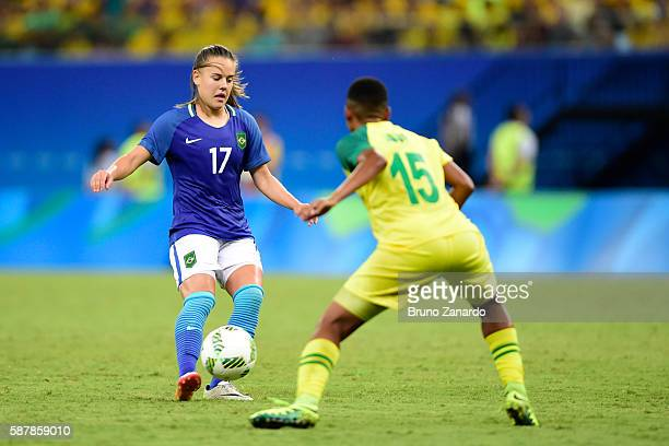 Andressinha player of Brazil battles for the ball with Refiloe Jane player of South Africa during 2016 Summer Olympics match between Brazil and South...