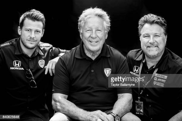 Andretti Autosport team Marco Andretti Mario Andretti and Michael Andretti are photographed for Sports Illustrated on August 20 2017 at Pocono...