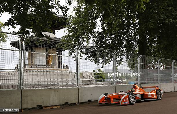 Andrettis Swiss driver Simona de Silvestro drives past the peace pagoda during a nonqualifying practice during the 2015 FIA Formula E London ePrix...