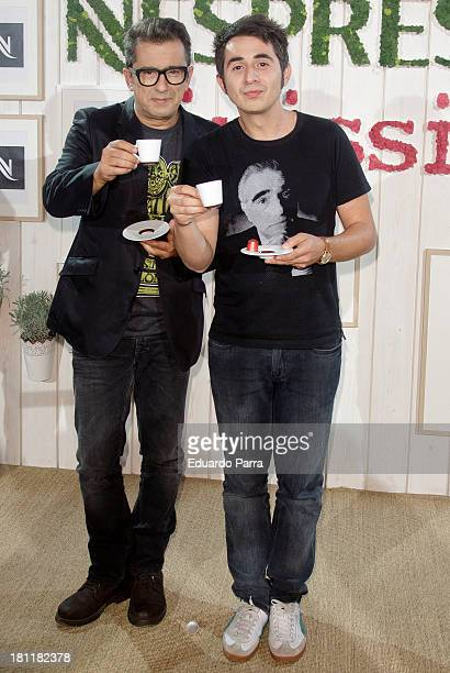 Andreu Buenafuente and Berto Romero attend Inissia by Nespresso party photocall at Neptuno palace on September 19 2013 in Madrid Spain
