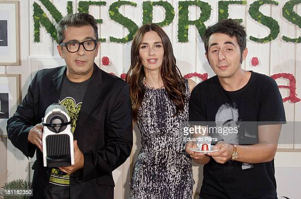 Andreu Buenafuente Paz Vega and Berto Romero attend Inissia by Nespresso party photocall at Neptuno palace on September 19 2013 in Madrid Spain