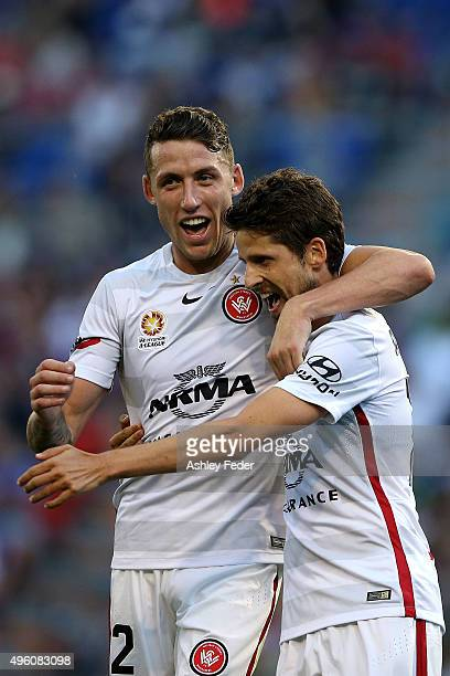 Andreu of the Wanderers celebrates his goal with Scott Neville during the round five ALeague match between the Newcastle Jets and the Western Sydney...
