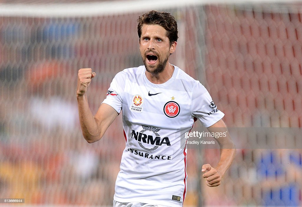Andreu of the Wanderers celebrates scoring a goal during the round 22 A-League match between the Brisbane Roar and the Western Sydney Wanderers at Suncorp Stadium on March 4, 2016 in Brisbane, Australia.