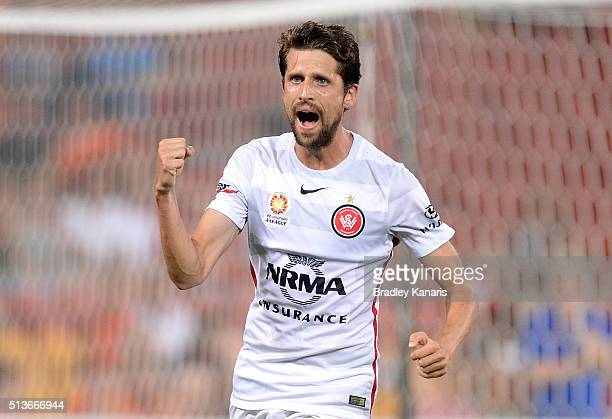 Andreu of the Wanderers celebrates scoring a goal during the round 22 ALeague match between the Brisbane Roar and the Western Sydney Wanderers at...