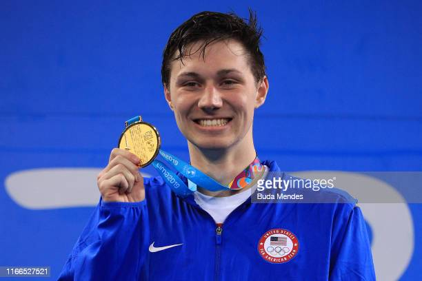 Andrew Abruzzo of United States smiles in the podium of Men's 400m Freestyle at Aquatics Center of Villa Deportiva Nacional on Day 11 of Lima 2019...
