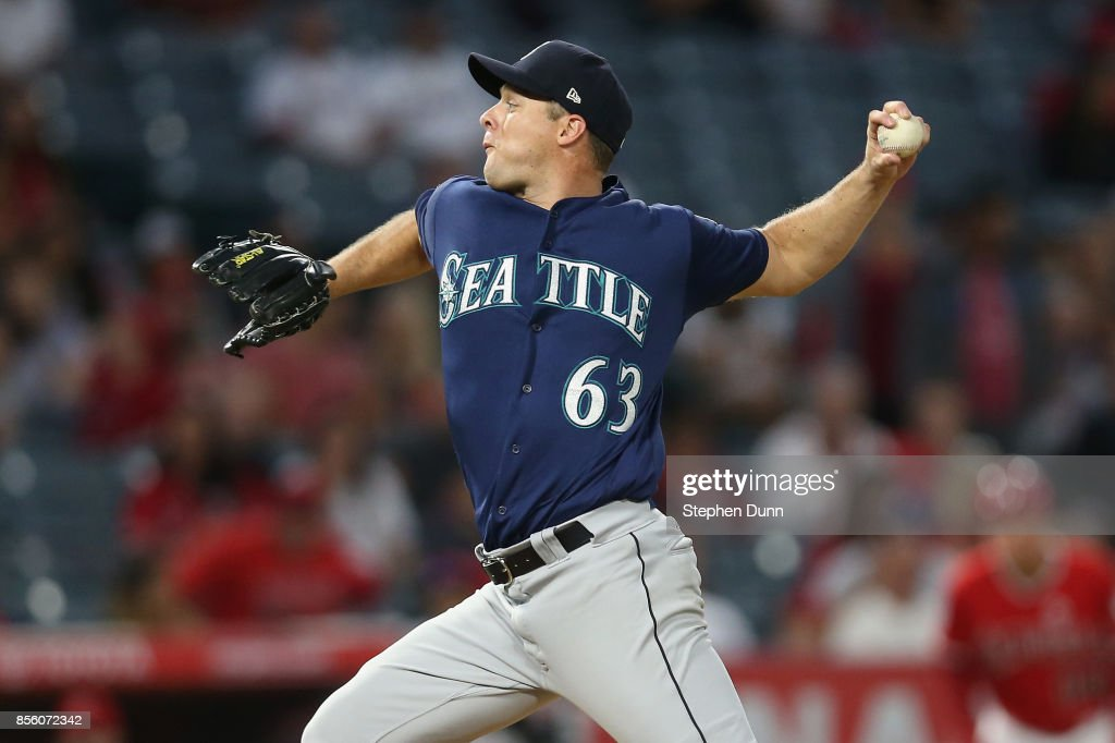 Andrew Albers #63 of the Seattle Mariners throws a pitch in the second inning against the Los Angeles Angels of Anaheim on September 30, 2017 at Angel Stadium of Anaheim in Anaheim, California.