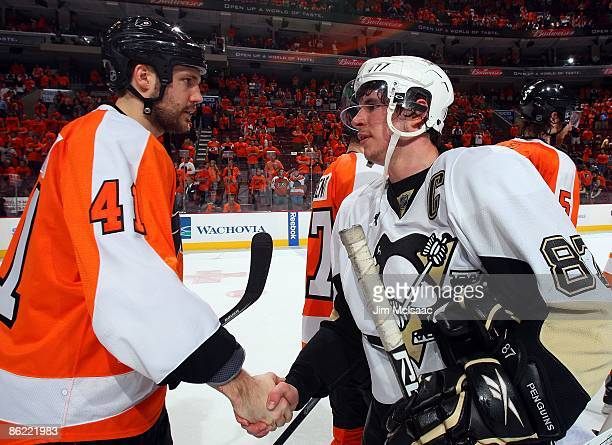 Andrew Alberts of the Philadelphia Flyers congratulates Sidney Crosby of the Pittsburgh Penguins after Game Six of the Eastern Conference...