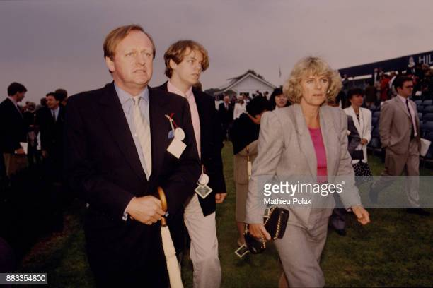 Andrew and Camilla Parker Bowles with their son Tom Parker Bowles attend the Queen's Cup polo match at Windsor 7th June 1992