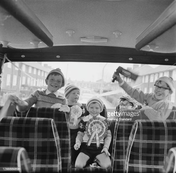 Andrew and Clive Allen are among the Queens Park Rangers fans on a coach to Wembley for the 1967 League Cup Final against West Bromwich Albion, UK,...