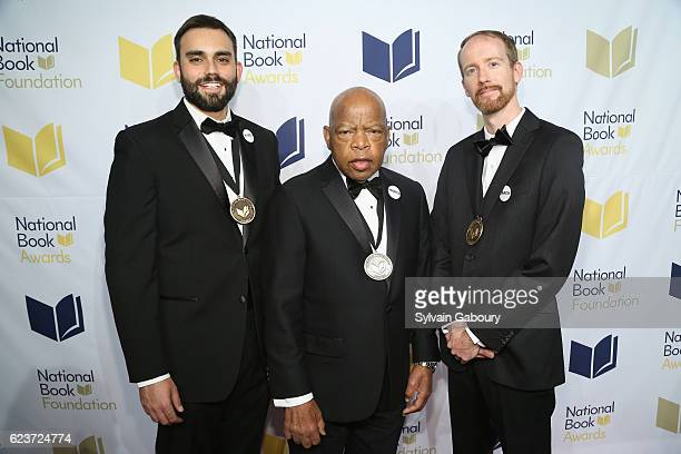 Andrew Aydin Congressman John Lewis and Nate Powell attend The 67th National Book Awards Ceremony Benefit Dinner at Cipriani Wall Street on November...
