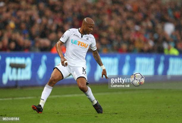 Andrew Ayew of Swansea City during the Premier League match between Swansea City and Chelsea at Liberty Stadium on April 28 2018 in Swansea Wales