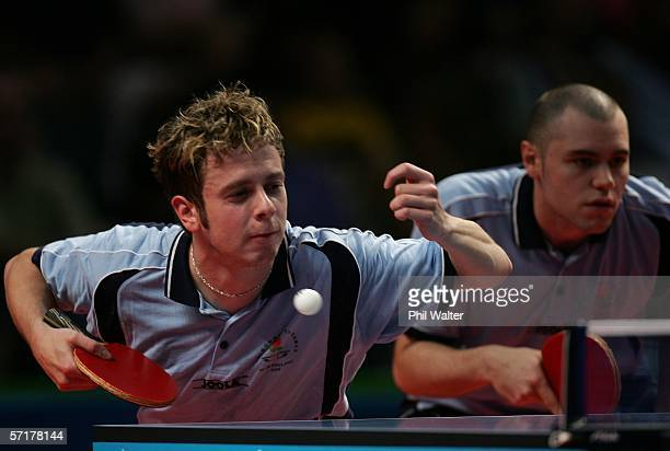 Andrew Baggaley and Andrew Rushton of England during their Mens Doubles semifinal match against Zi Yang and Li Cai of Singapore at the Melbourne...