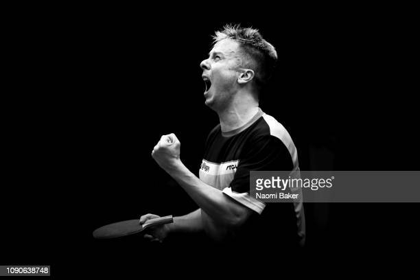 Andrew Baggaley of England celebrates after he wins the final match against Wang Shibo of China during day two of the BetVictor World Championship of...