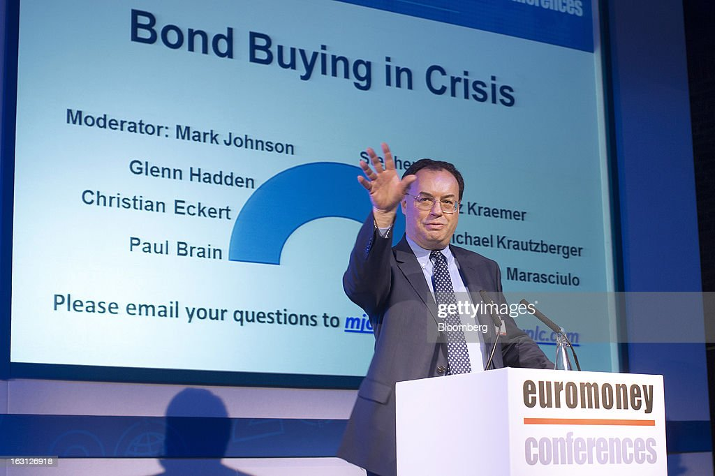 Andrew Bailey, incoming chief executive officer of the U.K. Prudential Regulation Authority, gestures as he speaks during his keynote address at the Euromoney Bond Investors Congress in London, U.K., on Tuesday, March 5, 2013. Bailey will lead the Prudential Regulation Authority, which oversees banking and insurance industry stability, on April 1 when the Financial Services Authority (FSA) is broken up. Photographer: Simon Dawson/Bloomberg via Getty Images