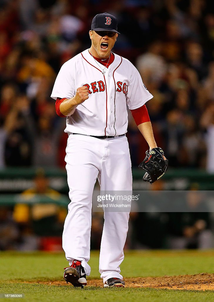 Andrew Bailey #40 of the Boston Red Sox reacts after striking out the side to end the game and win 6-5 against the Oakland Athletics in the ninth inning during the game on April 24, 2013 at Fenway Park in Boston, Massachusetts.