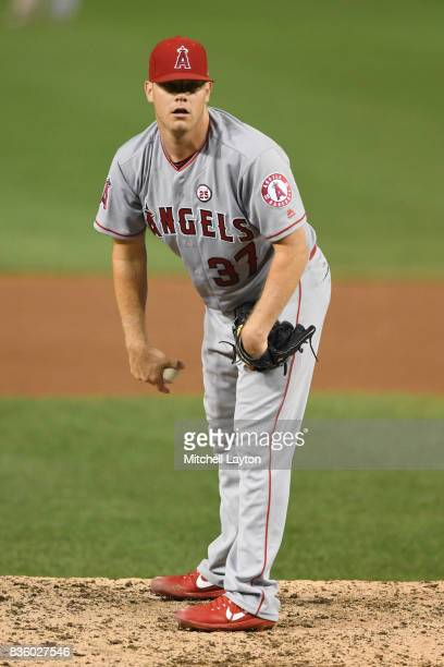 Andrew Bailey of the Los Angeles Angels of Anaheim pitches during a baseball game against Washington Nationals at Nationals Park on August 15 2017 in...