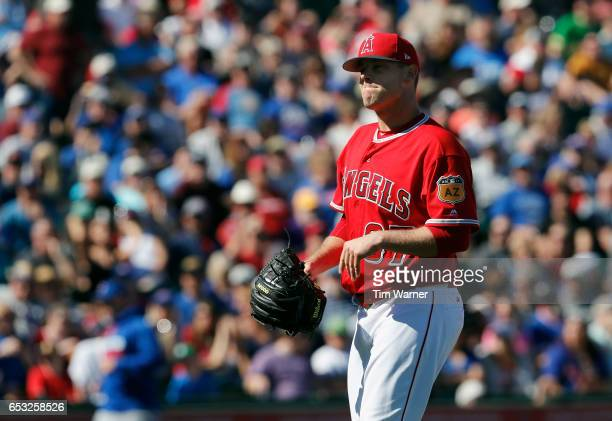 Andrew Bailey of the Los Angeles Angels of Anaheim walks off the mound during a spring training game against the Chicago Cubs at Tempe Diablo Stadium...