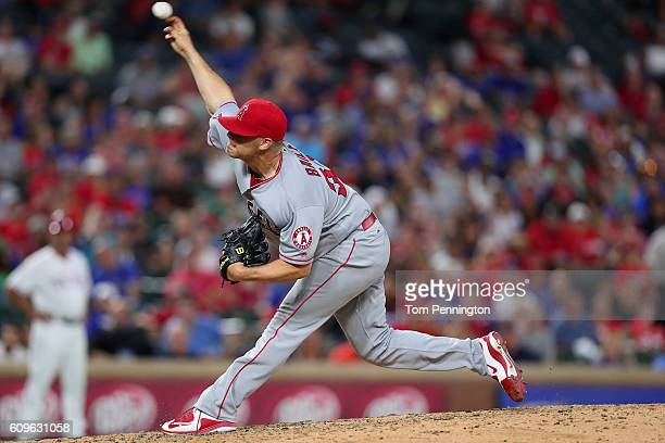 Andrew Bailey of the Los Angeles Angels pitches against the Texas Rangers in the bottom of the ninth inning at Globe Life Park in Arlington on...