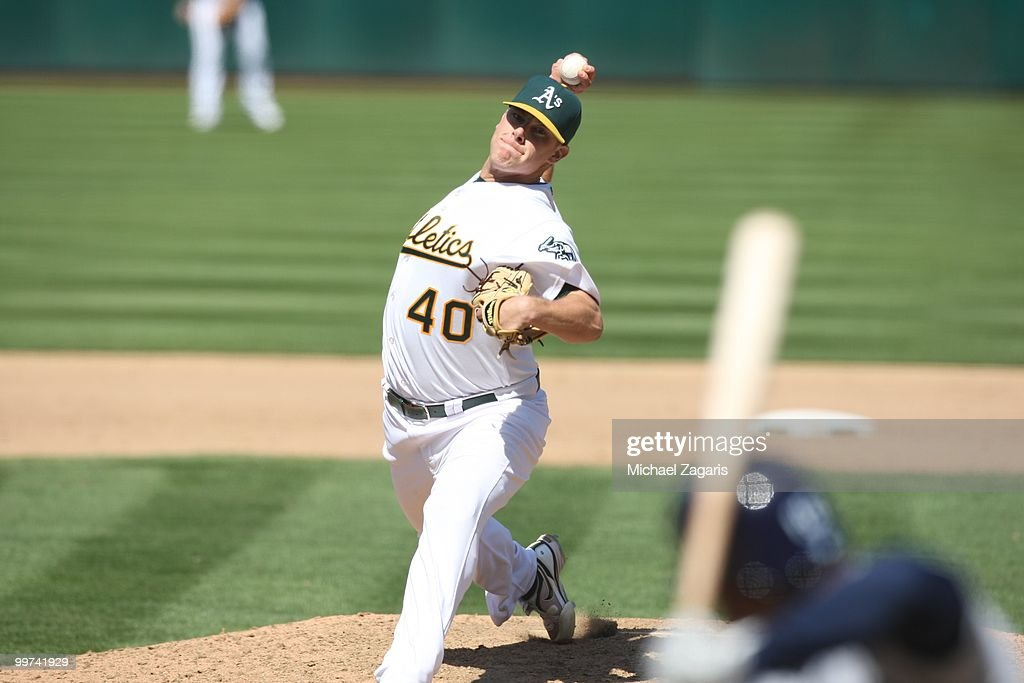 Andrew Bailey #40 of the Oakland Athletics pitching during the game against the Tampa Bay Rays at the Oakland Coliseum on May 8, 2010 in Oakland, California. The Athletics defeated the Rays 4-2.