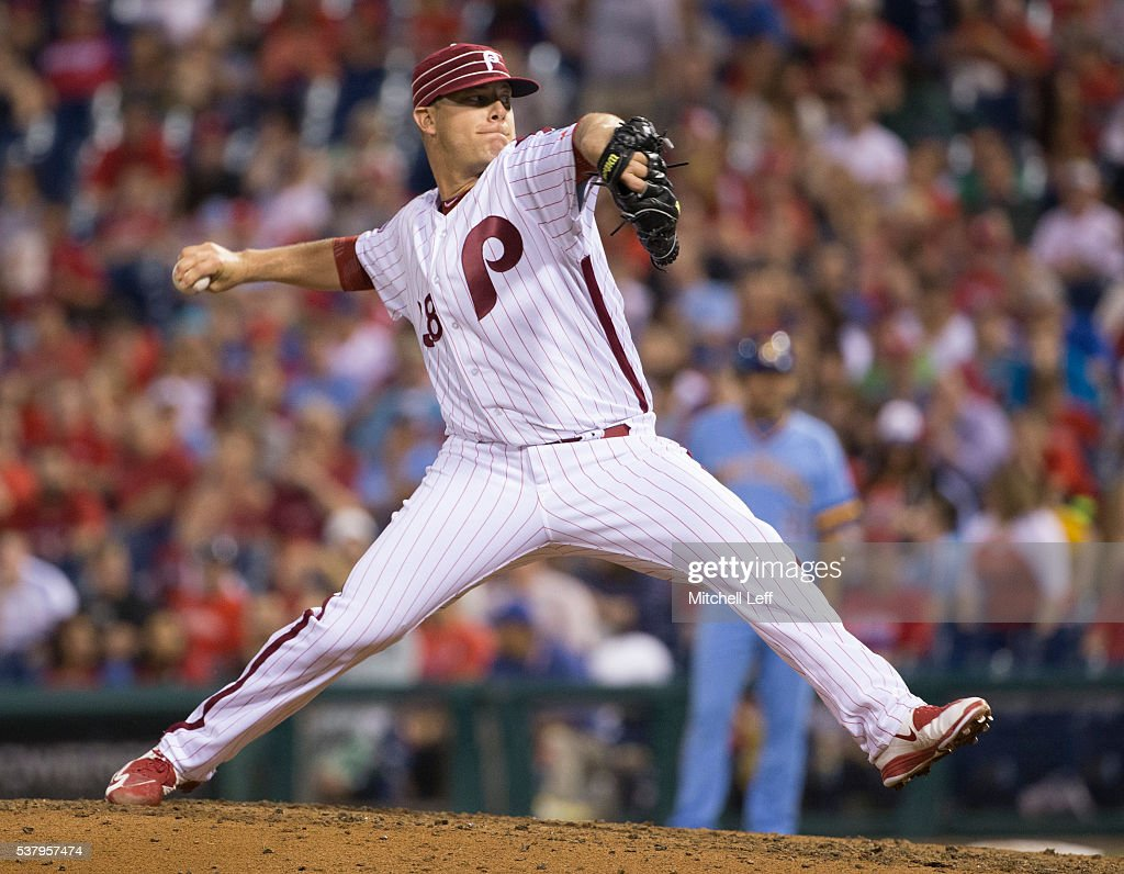 Andrew Bailey #38 of the Philadelphia Phillies throws a pitch in the top of the fifth inning against the Milwaukee Brewers at Citizens Bank Park on June 3, 2016 in Philadelphia, Pennsylvania. The Phillies defeated the Brewers 6-3.