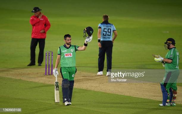Andrew Balbirnie of Ireland celebrates reaching his century watched on by Paul Stirling during the Third One Day International between England and...