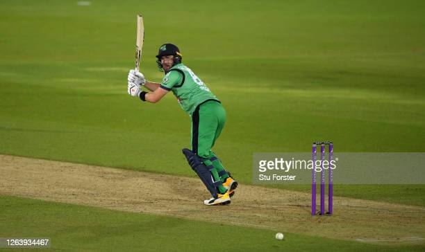 Andrew Balbirnie of Ireland hits runs during the Third One Day International between England and Ireland in the Royal London Series at Ageas Bowl on...