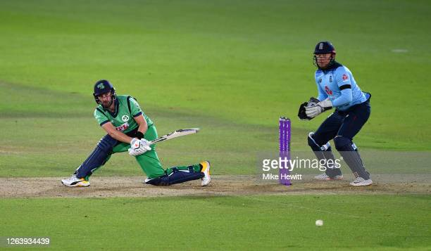 Andrew Balbirnie of Ireland hits runs watched on by Jonny Bairstow of England during the Third One Day International between England and Ireland in...