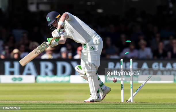 Andrew Balbirnie of Ireland is bowled by Olly Stone of England during day one of the Specsavers 1st Test match between England and Ireland at Lord's...