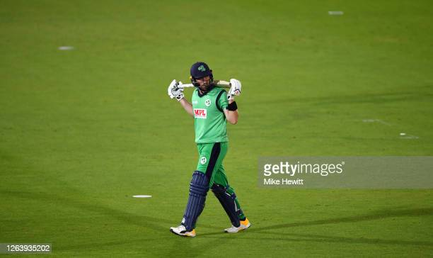 Andrew Balbirnie of Ireland walks off after being dismissed during the Third One Day International between England and Ireland in the Royal London...