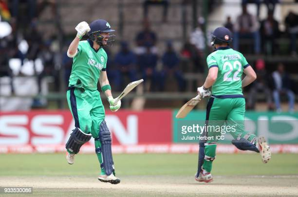Andrew Balbirnie of reland acknowledges his century during The ICC Cricket World Cup Qualifier at The Old Hararians Ground on March 18 2018 in Harare...