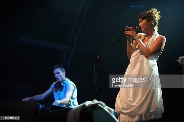 Andrew Barlow and Lou Rhodes of Lamb performs on stage during Summer Series at Somerset House on July 16 2011 in London United Kingdom