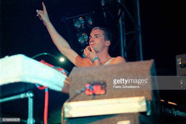 Andrew Barlow performs with Lamb at the Drum rhythm Festival on May 28 1999 at Westergasfabriek in Amsterdam, Netherlands.