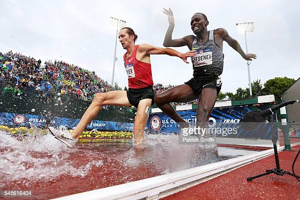 Andrew Bayer and Stanley Kebenei compete in the Men's 3000 Meter Steeplechase Final during the 2016 US Olympic Track Field Team Trials at Hayward...